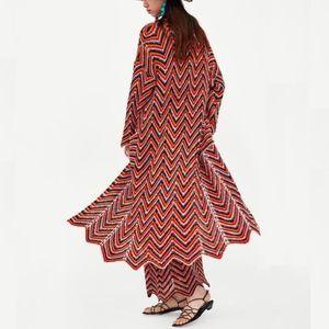 ZARA Boho Long Knit Coat Multi-color Cardigan. S